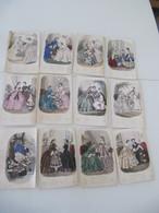 """Lot De 12 Gravures Colorisées """"Magasin Des Demoiselles"""" 1857-1860 Mode - Vieux Papiers"""