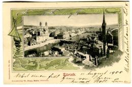 Zürich Passepartout-Karte Farblitho  Verlag Th. Zingg UPU-Frankatur 10 R  Nach Schweden 1900 - ZH Zürich