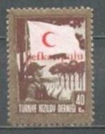 1949 TURKEY 40K. RED CRESCENT ASSOCIATION OVERPRINTED CHARITY STAMP MICHEL: 160 MNH ** - 1921-... République