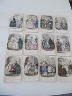 """Lot De 12 Gravures Colorisées """"Magasin Des Demoiselles"""" 1856-1858 Mode - Vieux Papiers"""
