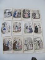 """Lot De 12 Gravures Colorisées """"Magasin Des Demoiselles"""" 1852-1857 Mode - Vieux Papiers"""