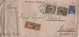 Czechoslovakia 1920, Cesky Tesin, 8.XI.1920 Registered Letter To Brunn, Hradcany Pair 80 Haleru, FRONT ONLY- Interesting - Storia Postale