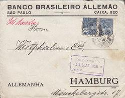 Brazil BANCO BRASILEIRO ALLEMAO, SAO PAULO/CAIXA 1928 Cover Letra HAMBURG Germany Pelo 'S/S MASSILIA' Shipsmail - Brasil