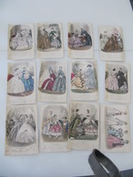 """Lot De 12 Gravures Colorisées """"Magasin Des Demoiselles"""" 1859-1862 Mode - Vieux Papiers"""