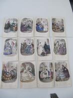 """Lot De 12 Gravures Colorisées """"Magasin Des Demoiselles"""" 1858 Et 1860 Mode - Vieux Papiers"""