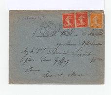 Sur Enveloppe Paire Semeuses 10 C. Et Une 5 C. CAD Annonay Ardéche 1921. CAD Destination Meaux Banlieue Est. (1193x) - Marcophilie (Lettres)