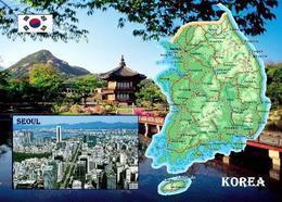 AK Südkorea Landkarte Korea Country Map New Postcard - Corée Du Sud
