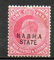 NABHA - (Protectorat Britannique) - 1908 - N° 38 - 1 A. Rouge Carminé - (Effigie De Edouard VII) - Nabha