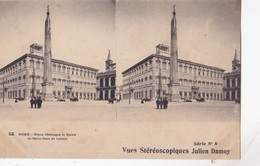 ROME PLACE OBELISQUE ET PALAIS DE SAINT JEAN DE LATRAN  VUES STEREOSCOPIQUESS JULIEN DAMOY SERIE N. 8 AUTENTICA 100% - Cartoline Stereoscopiche