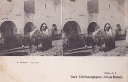 BISKRA UNE RUE VUES STEREOSCOPIQUESS JULIEN DAMOY SERIE N. 9 AUTENTICA 100% - Cartoline Stereoscopiche
