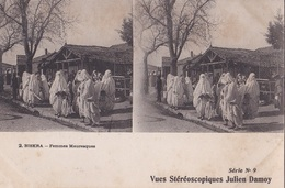 BISKRA FEMMES MAURESQUES  VUES STEREOSCOPIQUESS JULIEN DAMOY SERIE N. 9 AUTENTICA 100% - Cartoline Stereoscopiche
