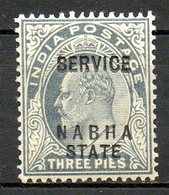 NABHA - (Protectorat Britannique) - 1904 - Service - N° 16 - 3 P. Gris - (Effigie De Edouard VII) - Nabha