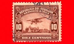ECUADOR - Usato - 1929 - Aeroplano Sul Lungomare Di Guayaquil - 10 - P. Aerea - Ecuador