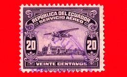 ECUADOR - Usato - 1929 - Aeroplano Sul Lungomare Di Guayaquil - 20 - P. Aerea - Ecuador