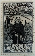Italie Italy Italia 1926 Saint François D'Assise Francescano Yvert 187 O Used Usato - 1900-44 Victor Emmanuel III.