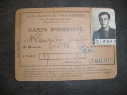 RARE CARTE IDENTITE USINE RENAULT 1927 BILLANCOURT TB ETAT - Maps