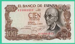 100 Pesetas - Espagne - 17 11 1970 - N° 616061012 - TTB+ - - 100 Pesetas