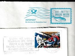 T 448) 2 Belege : Greenpeace - Meer Retten; MWSt Gedre (FRA) - Forelle Fangen - Pesci