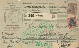 Paketkarte Nach Davos Schatzalp Sanatorium Mann Zauberberg Von Bast Dt. Kartierungsstelle Basel 1915 - Germania