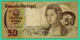 50 Escudos - Portugal - 1 02 1980 - N° AJD75927 - TB+ - - Portugal