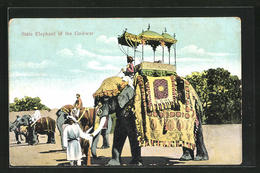 AK India, State Elephant Of The Gaikwar, Elefant Mit Mahut - Éléphants