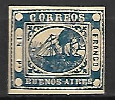 BUENOS AIRES   -    1859 .  Y&T N° 7 (*) .  Bateau à Vapeur. - Buenos Aires (1858-1864)