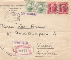 SPANIEN R-Brief 1933 - 4 Fach Frankatur Auf Brief (ohne Inhalt), Gel.v. Madrid > Vienna, Transportspuren - 1931-50 Briefe U. Dokumente