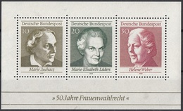 Germania 1969 Sc. 1007 Marie-Elisabeth Luders - Juchacz - Helene Weber Sheet Nuovo MNH Germany Giorno Mamma - Muttertag
