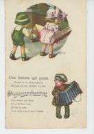 """ILLUSTRATEUR BERTIGLIA - ENFANTS - Jolie Carte Fantaisie Enfants Et Chanson """"Une Femme Qui Passe """" - Bertiglia, A."""