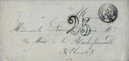 1850 FRANCIA , SOBRE  CIRCULADO , BELLEVILLE - LES - PARIS / CHARENTE , PORTEO - Marcofilia (sobres)