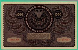 1000 Marek - Pologne - 1919 - N° 957057/ I Seria AD - TTB - - Polonia