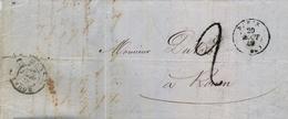 1849 FRANCIA , CARTA CIRCULADA , PARIS - ROUEN , PORTEO , LLEGADA - Marcofilia (sobres)