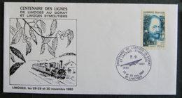 FRANCE - 1980 -CENTENAIRE DES LIGNES  DE LIMOGES AU DORAT ET LIMOGES A EYMOUTIERS - Poststempel (Briefe)