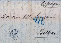 1858 FRANCIA , CARTA CIRCULADA , PARIS - BILBAO , PORTEO , TRÁNSITO DE IRÚN , LLEGADA - Marcofilia (sobres)