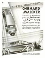 "PUB VEHICULES  "" 14CV MONTLHERY ""  "" CHENARD & WALCKER ""   1931 ( 3 ) - Transportation"
