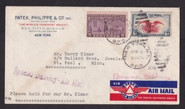 USA: Special Delivery Airmail Cover 1940, 2 Stamps, Rare Air Label Delta Airlines, Sent By Patek Watches (discolouring) - Etats-Unis