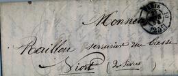1854 FRANCIA , CARTA CIRCULADA , PARIS - VIORT , LLEGADA - Marcofilia (sobres)