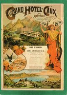 REPRODUCTION En Carte Postale Des Affiches CHEMINS DE FER GRAND HOTEL DE CAUX Sur MONTREUX état Impeccable - Chemins De Fer