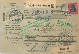 Paketkarte Nach Davos Schatzalp Sanatorium Mann Zauberberg Von Berlin Deutsche Kartierungsstelle Basel 1915 - Lettres & Documents