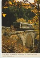 CP - PHOTO - CHEMINS DE FER DE PROVENCE - AUTORAIL CFD DANS LA FORET DES LUNIERES - TRAIN - A 90 - NIJA FILMS. - Eisenbahnen