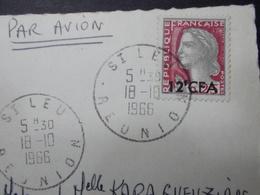 Marcophilie  Cachet Lettre Obliteration - Saint LEU - Ile De La REUNION - Timbre 12f CFA - 1966 (2267) - Reunion Island (1852-1975)