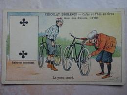 Chromo LYON Chocolat DEGRANGE - Carte à Jouer 2 Trêfle Cyclisme Vélo Le Pneu Crevé - Chocolat