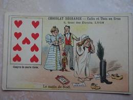 Chromo LYON Chocolat DEGRANGE - Carte à Jouer 9 Coeur - Chocolat