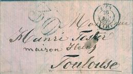 1860 FRANCIA , CARTA CIRCULADA , AUCH - TOULOUSE , LLEGADA - Marcofilia (sobres)