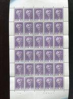 Belgie 1965 1321 Paul Hymans Full Sheet Mnh  Plaatnummer 4 (margin Folds) - Feuilles Complètes
