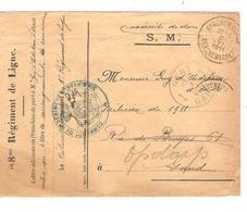 PR6398/ Lettre Du 8me Régiment De Ligne En S.M. C.Berchem 1911(déchirure)v.Guy D'Udekem D'Acoz à Gand Redirigé V.Opdorp - Marcophilie