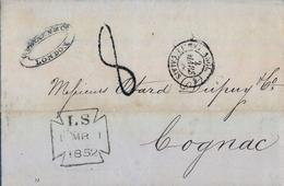 1852 , GRAN BRETAÑA , LONDON - COGNAC , TRÁNSITOS , LLEGADA - Marcofilia
