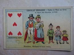 Chromo LYON Chocolat DEGRANGE - Carte à Jouer 5 Coeur - Chocolat