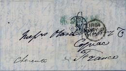 1854 , GRAN BRETAÑA , LONDON - COGNAC , TRÁNSITOS , LLEGADA - Marcofilia