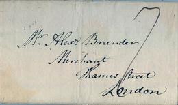 1791 , GRAN BRETAÑA , EDIMBURGO - LONDON , PORTEO , MARCAS AL DORSO - Marcofilia